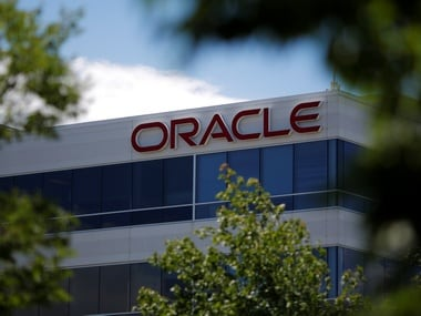 A sign marks a building housing Oracle offices in Burlington, Massachusetts, US. Image: Reuters