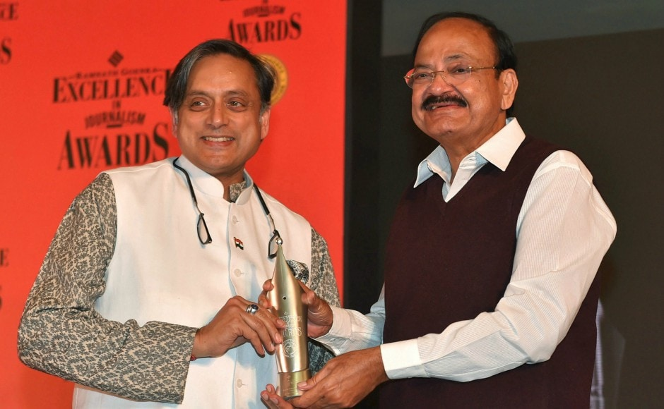 The vice-president presented an award to Congress MP Shashi Tharoor for his book 'An Era of Darkness: The British Empire in India'. PTI