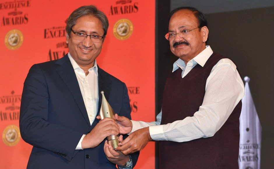 At the 12th edition of the Ramnath Goenka Excellence in Journalism Awards in New Delhi, Vice-President M Venkaiah Naidu presented the award for Hindi broadcast to Ravish Kumar of NDTV India on Wednesday. PTI