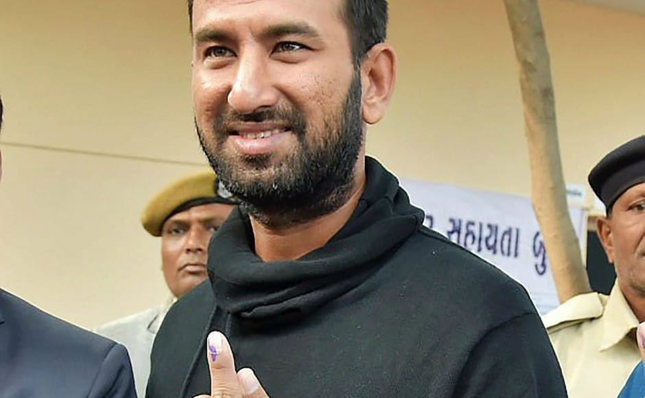 Indian cricketer Cheteshwar Pujara casted his vote in the first phase of Gujarat elections. He asked youngsters to exercise their franchise. PTI