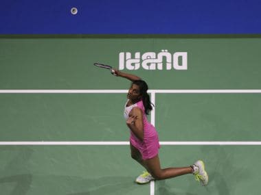 P. V. Sindhu of India returns a shot to China's He Bingjiao during the first day of the Dubai Badminton World Superseries Finals in Dubai, United Arab Emirates, Wednesday, Dec. 13, 2017. (AP Photo/Kamran Jebreili)