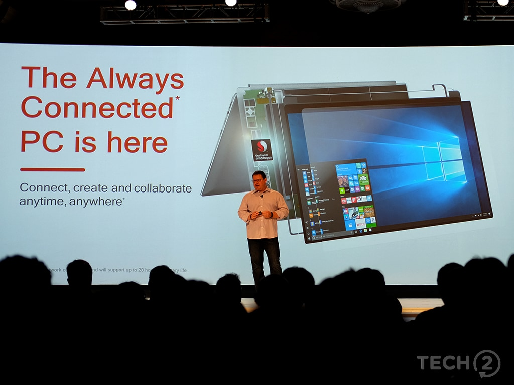 Qualcomm introduces the Always-Connected PC. Image: tech2/Anirudh Regidi