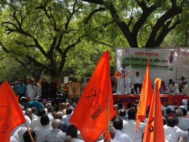 File image of RSS workers protest. PTI