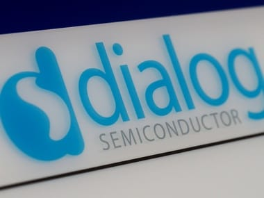 Dialog semiconductor logo is pictured at a company building. Image: Reuters