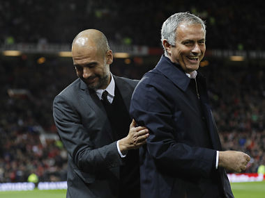 """Football Soccer Britain - Manchester United v Manchester City - EFL Cup Fourth Round - Old Trafford - 26/10/16 Manchester United manager Jose Mourinho and Manchester City manager Pep Guardiola before the match Reuters / Darren Staples Livepic EDITORIAL USE ONLY. No use with unauthorized audio, video, data, fixture lists, club/league logos or """"live"""" services. Online in-match use limited to 45 images, no video emulation. No use in betting, games or single club/league/player publications. Please contact your account representative for further details. - 14652869"""