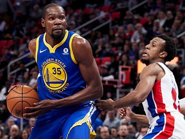 Dec 8, 2017; Detroit, MI, USA; Golden State Warriors forward Kevin Durant (35) is defended by Detroit Pistons guard Ish Smith (14) in the first half at Little Caesars Arena. Mandatory Credit: Rick Osentoski-USA TODAY Sports - 10467192