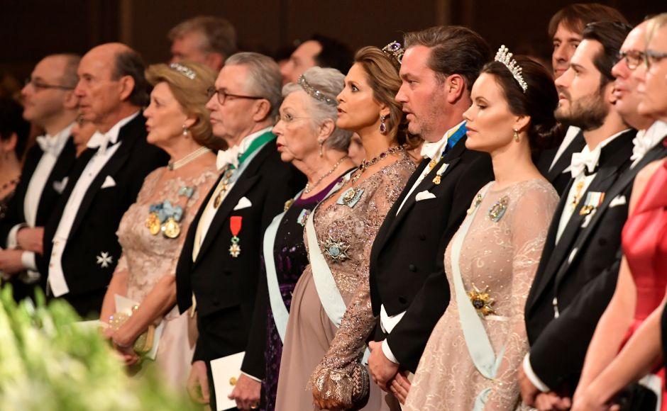 Thord Magnuson, Princess Birgitta, Princess Madeleine, Christopher O'Neill, Princess Sofia and Prince Carl Philip of Sweden are seen during the Nobel Award Ceremony. Reuters