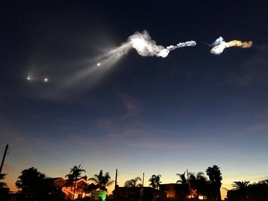 SpaceX's Falcon 9 launch lights up LA sky with a dazzling display
