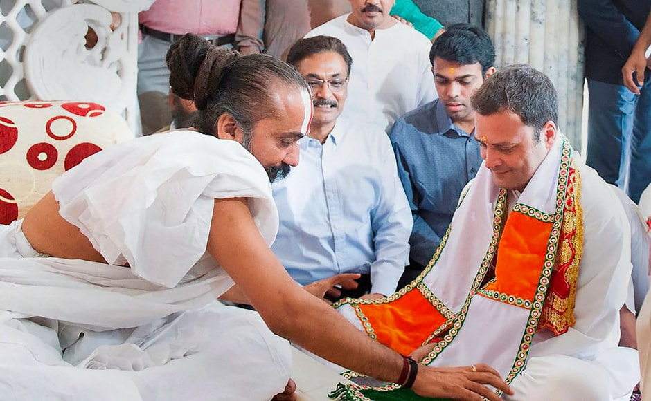 On the last day of campaigning in pol-bound Gujarat, Congress President-elect Rahul Gandhi visited Shri Jagannathji Temple in Ahmedabad on Tuesday. PTI