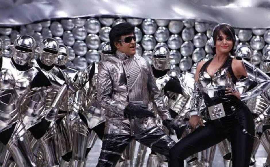 Rajinikanth along with Aishwarya Rai Bachchan in the 2010 sci-fi drama Enthiran (Robot). The film created a history with breaking all the past box-office records and emerged as one of the highest grossing films of all time. Image via Facebook