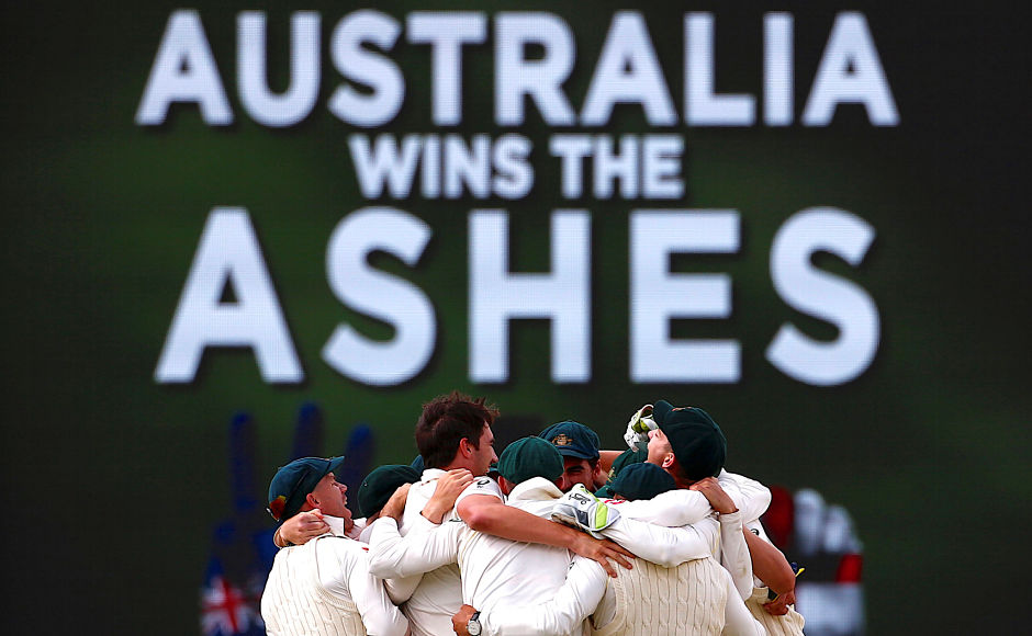 Australian players celebrate after winning the third Ashes Test by an innings and 41 runs at Perth, WACA. The home side take an unassailable 3-0 lead in 5-match series. Reuters