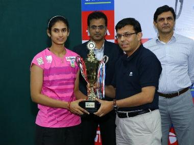 Ruthvika Shivani Gadde poses after winning the Tata Open International Series event in Mumbai.