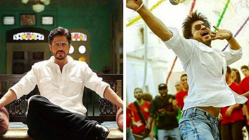 Shah Rukh Khan in Raees (left) and Jab Harry Met Sejal (right). Images via Facebook
