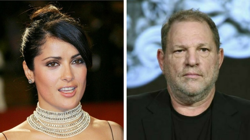 Salma Hayek (left); Harvey Weinstein (right). Images via Facebook