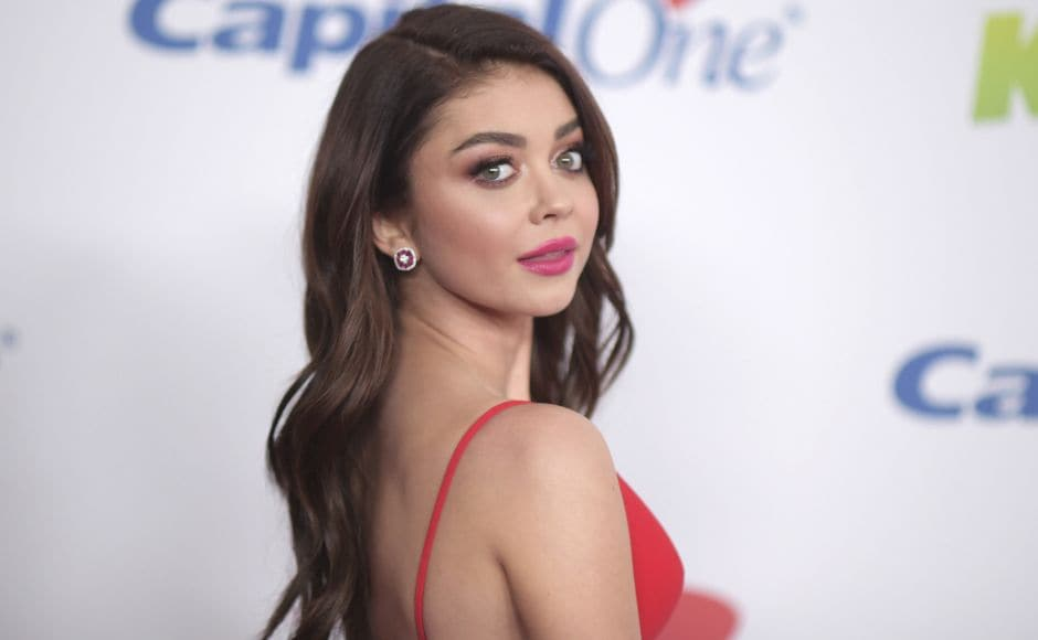 Sarah Hyland arrives at Jingle Ball at The Forum on Friday, Dec. 1, 2017, in Inglewood, Calif. (Photo by Richard Shotwell/Invision/AP)