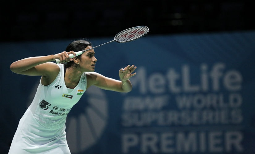 PV Sindhu in action at the Dubai World Superseries Finals. AFP