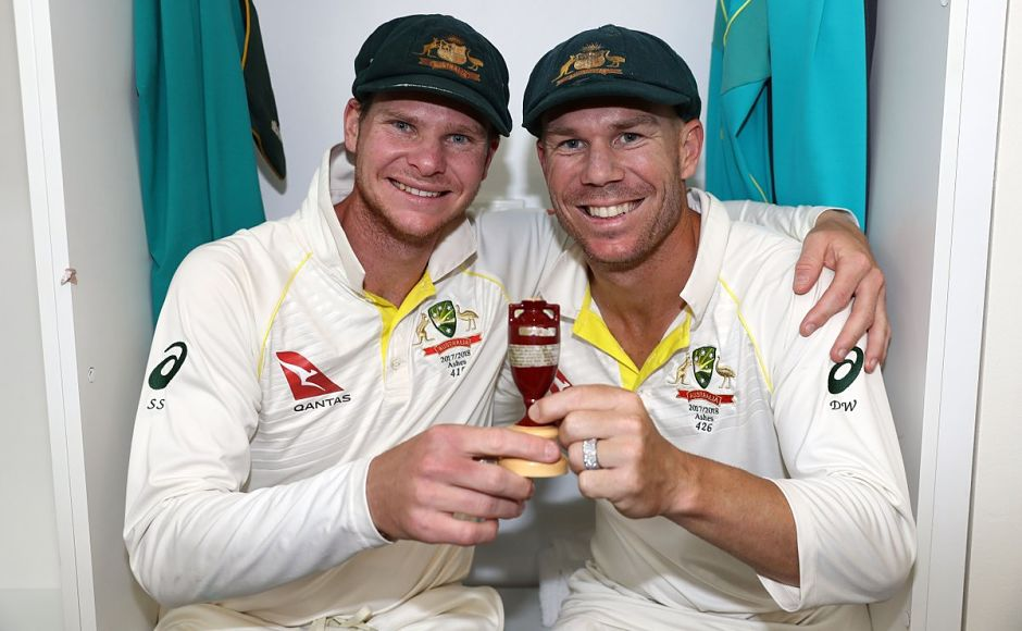 Australia's captain, Steve Smith and his deputy, David Warner pose with the Ashes urn in the dressing room after thrashing England in the third Test. Image courtesy: Twitter @ICC