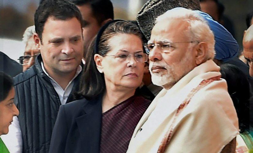 Prime Minister Narendra Modi, Congress president Sonia Gandhi and Congress president-elect Rahul Gandhi during the tribute paying ceremony for the martyrs of 2001 Parliament attack. PTI