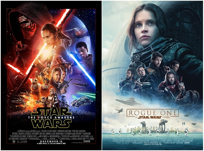 Poster for The Force Awakens and Rogue One. Star Wars