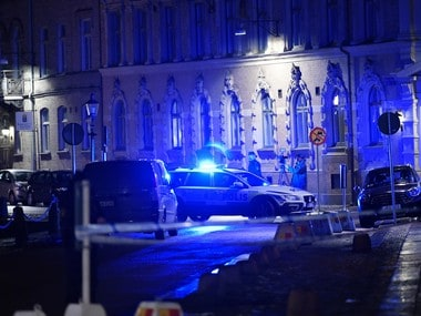 A view of a site where a synagogue was attacked in Gothenburg, Sweden. AP