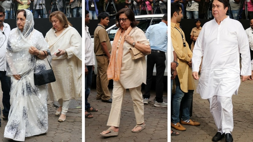 From left: Neila Devi and Reema Jain; Babita; Randhir Kapoor. Images via Firtspost/ Sachin Gokhale.