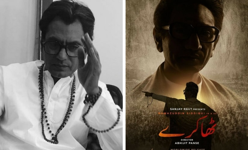 Nawazuddin Siddiqui as Balasaheb Thackeray; poster of Thackeray. Images from Twitter/@pratikspande and @MuVyz