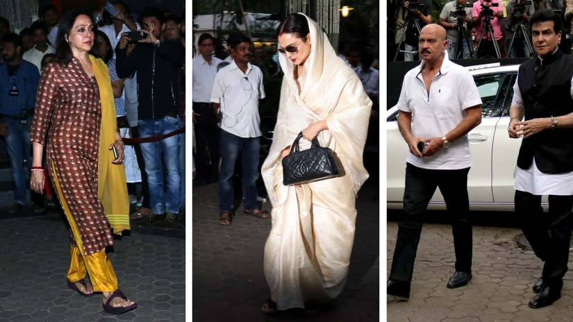 From left: Hema Malini; Rekha; Rakesh Roshan and Jeetendra. Images via Firstpost/ Sachin Gokhale