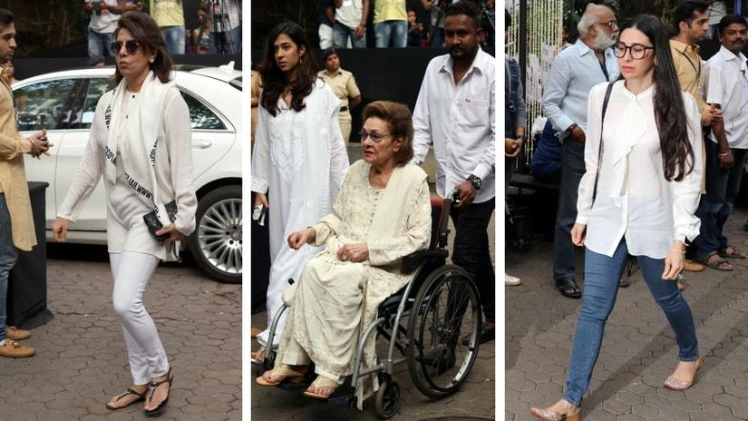 Neetu Singh; Krishna Raj Kapoor and Karisma Kapoor. Images via Firstpost/ Sachin Gokhale