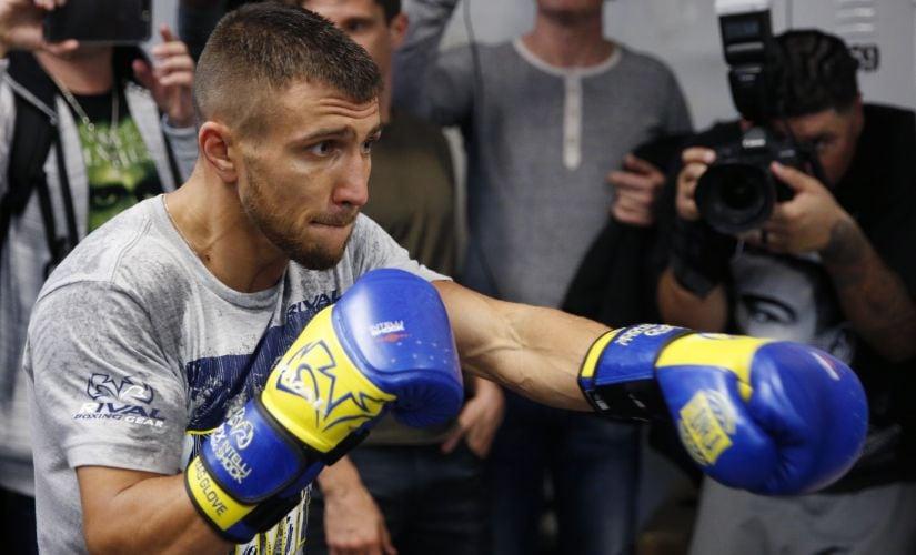 WBO super featherweight champion Vasyl Lomachenko during a workout at a Manhattan boxing gym. AP