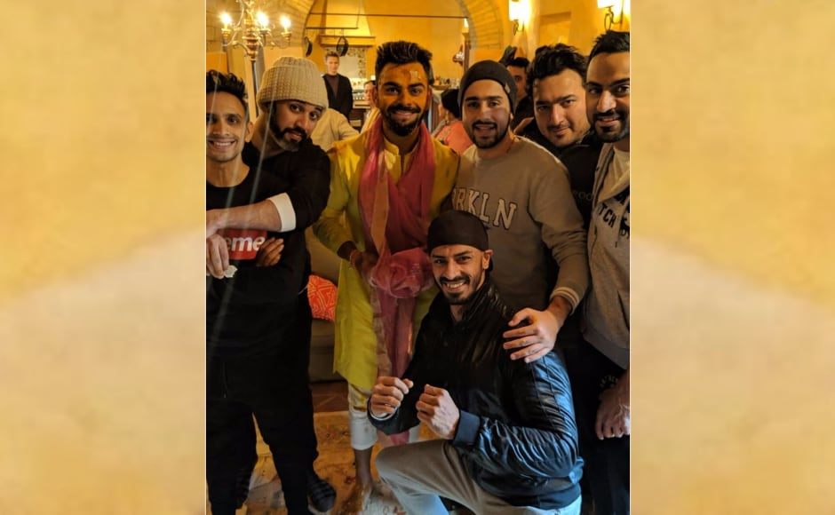 Virat Kohli with friends and family during his haldi ceremony in Tuscany. Image from Twitter/@Virat_Official.