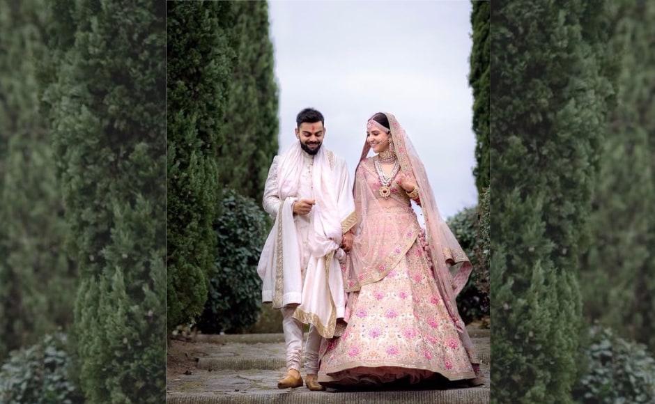 Newlyweds Virat Kohli and Anushka Sharma in Sabyasachi ensembles during their Italian wedding. Image from Twitter/@JustLykYouu.