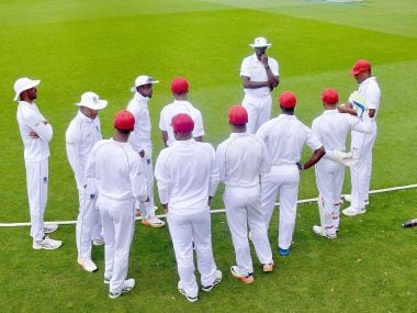 West Indies huddle on the field ahead of day's play during the first Test at the Basin Reserve. AFP