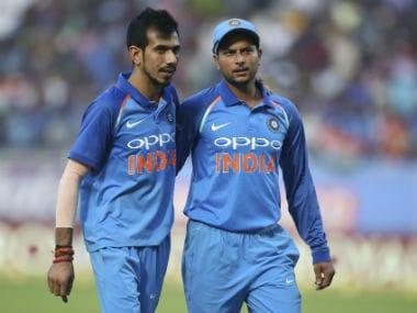 India's spin duo Yuzvender Chahal and Kuldeep yadav during third ODI against Sri Lanka. AP