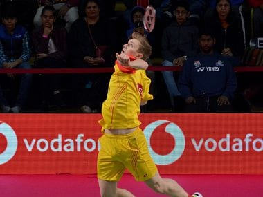 Viktor Axelsen in action for Bengaluru Blasters. Image courtesy: Twitter @PBLIndiaLive