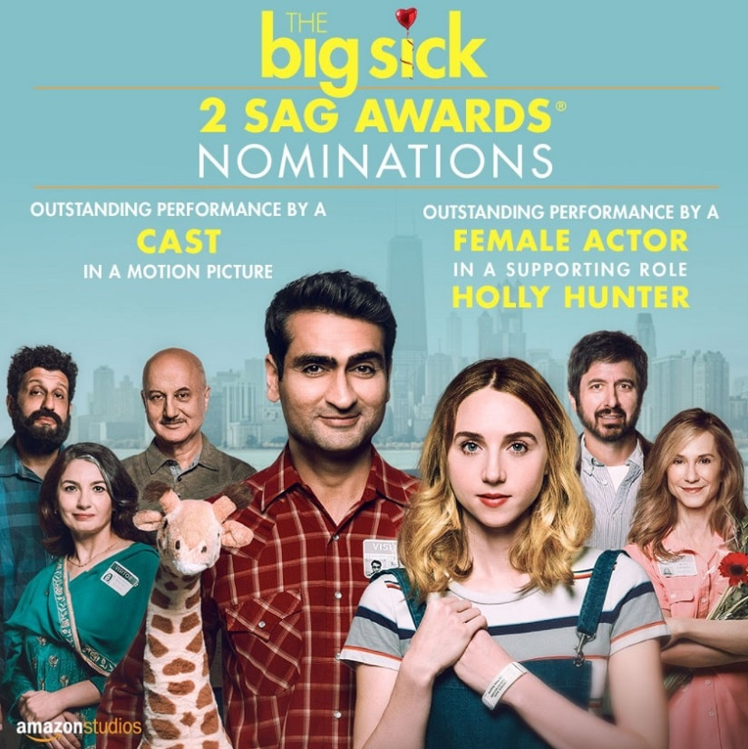 The Big Sick has been nominated for 2 SAG awards. Image from Twitter/@AnupamPkher.