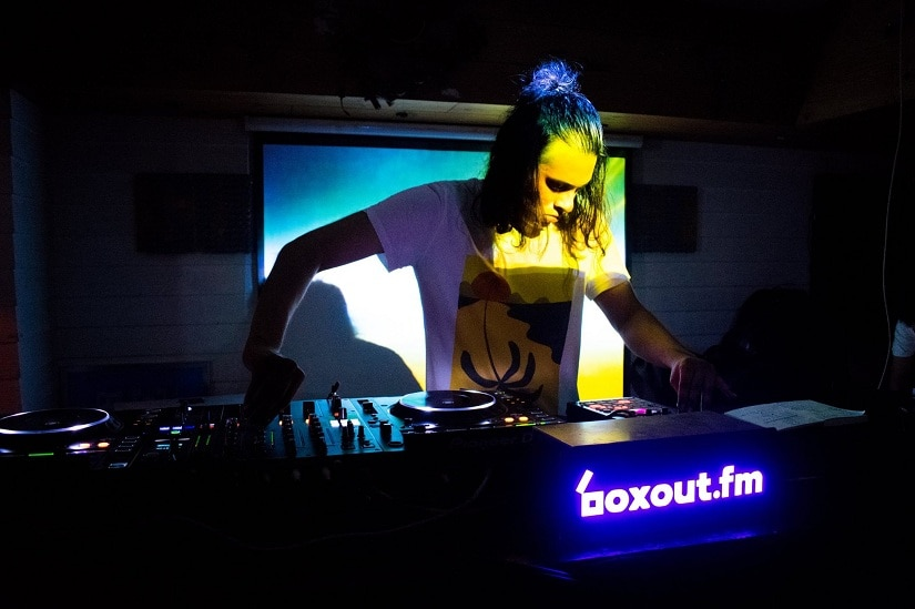 A DJ plays at one of Boxout.fm's events. Image from Facebook/@boxoutfm