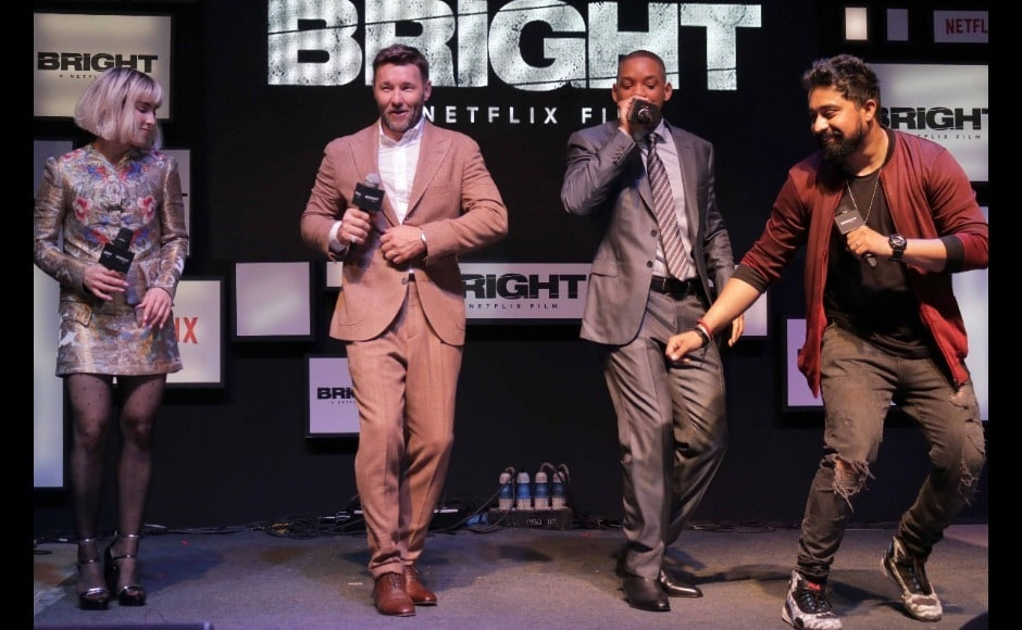 Rannvijay Singh, host of the evening, in conversation with Joel Edgerton, Noomi Rapace and Will Smith. Image from Firstpost/Sachin Gokhale