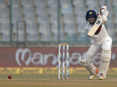 Sri Lanka's captain Dinesh Chandimal plays a shot during the Day 3 of the third Test against India in New Delhi. AP