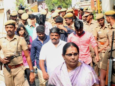 Relatives, including Kausalya's father Chinnasamy, arrive at the trial court in Tirupur on Tuesday. PTI