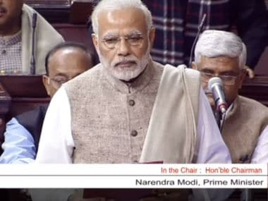 Prime Minister Narendra Modi addresses the Upper House on Friday.