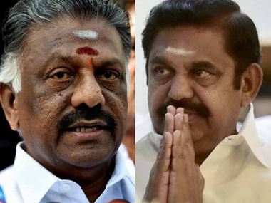 File image of O Panneerselvam (left) and E Palaniswamy. PTI