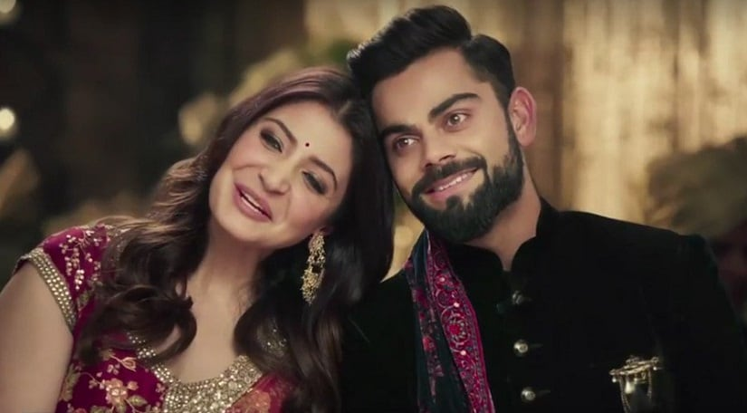 Anushka Sharma-Virat Kohli in a still from the Manyavar advertisement.