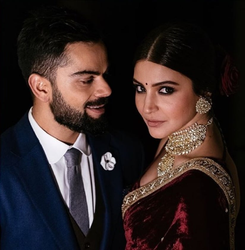 Virat and Anushka at their engagement ceremony. Image courtesy Instagram/@sabyasachiofficial