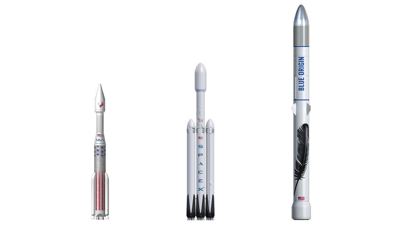 From left to right, the Vulcan, the Falcon, and the 3 Stage New Glenn.