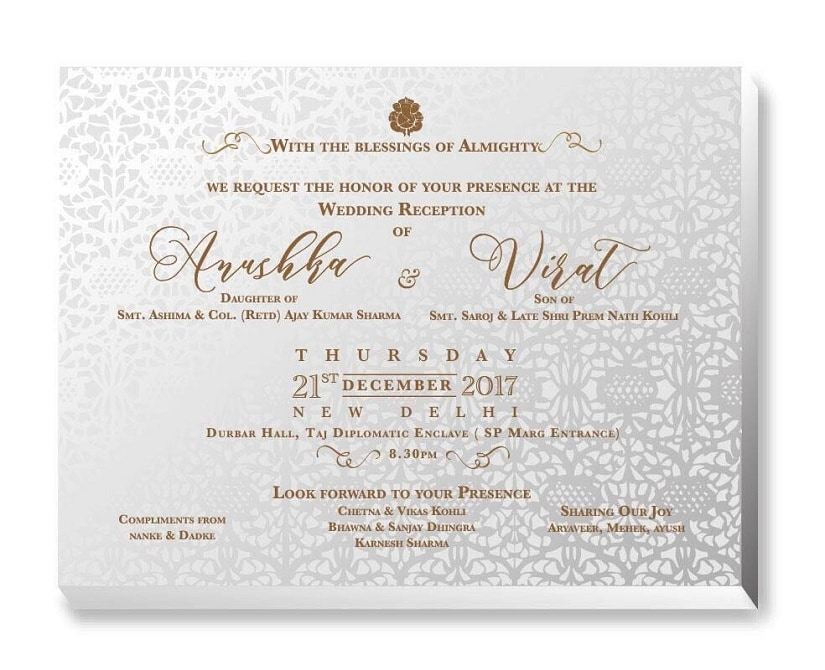 Anushka Sharma and Virat Kohli's wedding invite.