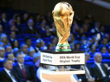 The FIFA World Cup trophy is displayed on stage ahead of the 2018 FIFA World Cup football tournament final draw at the State Kremlin Palace in Moscow. AFP