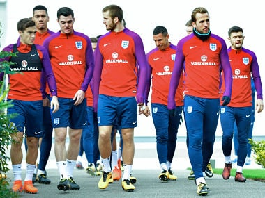 England's Harry Kane, (R), Eric Dier, (C) and Harry Winks (L) walk during a national football team training session at the Tottenham Hotspur Training Ground in Enfield, north London on October 4, 2017. / AFP PHOTO / OLLY GREENWOOD / / NOT FOR MARKETING OR ADVERTISING USE / RESTRICTED TO EDITORIAL USE