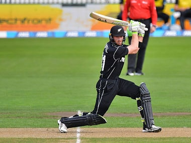 New Zealand's Martin Guptill plays a shot during the second one day international cricket match between New Zealand and Pakistan at Saxton Oval in Nelson on January 9, 2018. / AFP PHOTO / Marty MELVILLE
