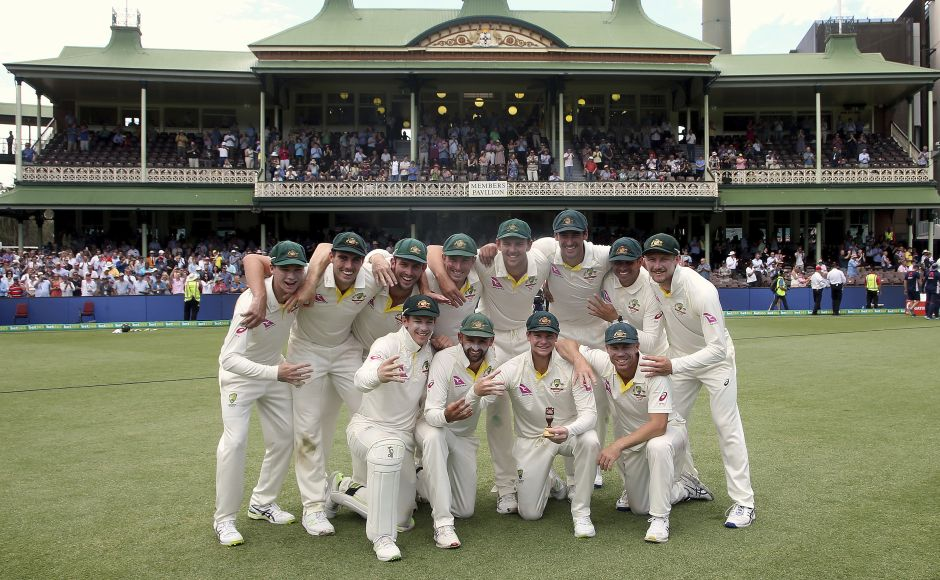 Australia on Monday bowled out England for 180 in Sydney to win the Test by an innings and 123 runs, ending the series with a 4-0 scoreline. Here, captain Steve Smith poses for the photo with teammates. AP