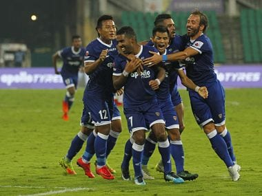 Gregory Nelson of Chennaiyin FC celebrate his goal during match 46 of the Hero Indian Super League between Chennaiyin FC and FC Pune City held at the Jawaharlal Nehru Stadium, Chennai India on the 13th January 2018 Photo by: Arjun Singh / ISL / SPORTZPICS